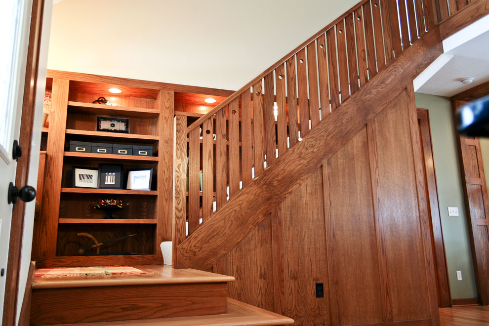 craftsman stair and built-in detail