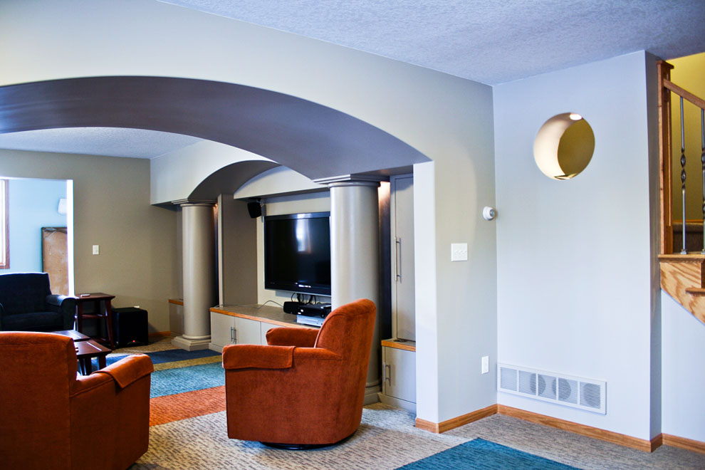 Custom Basement with Arches and Columns