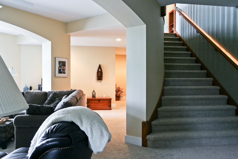 basement living room and stairs
