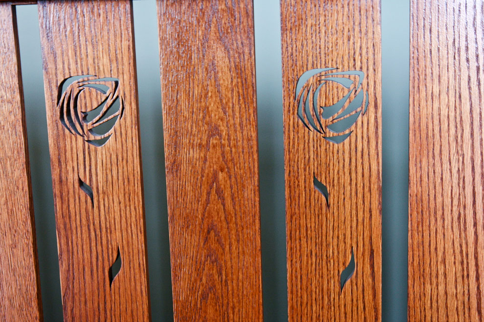 craftsman wood railing detail closeup