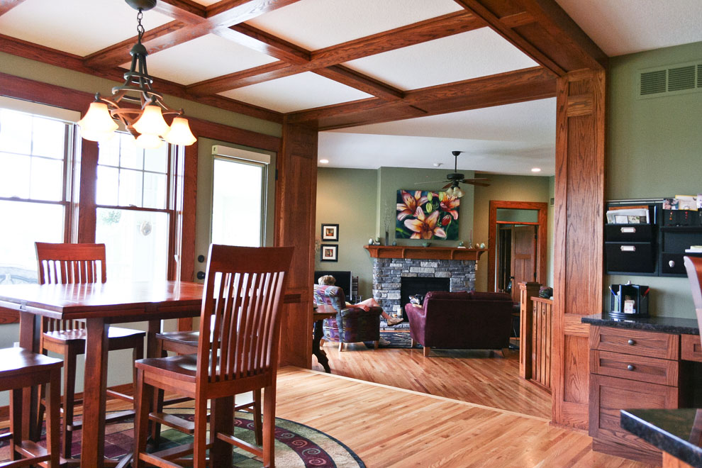 craftsman dining room and living room