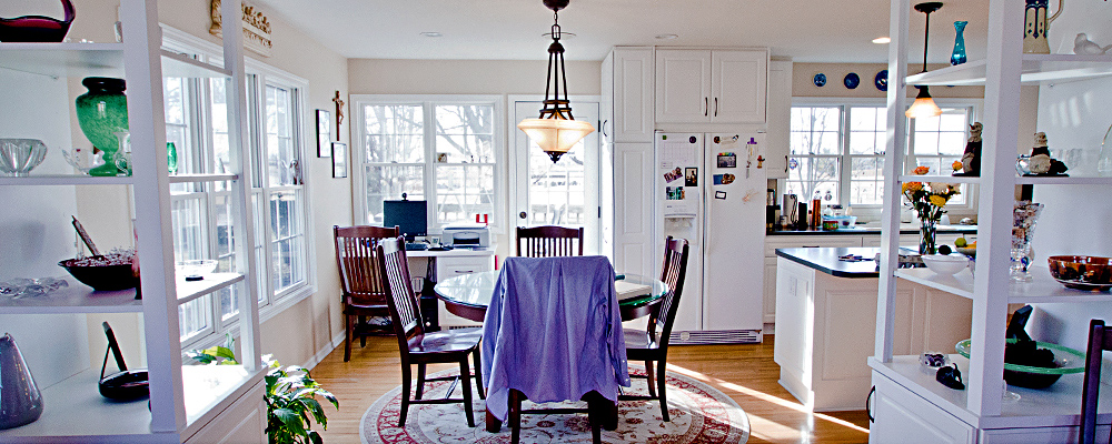 traditional dining room kitchen view