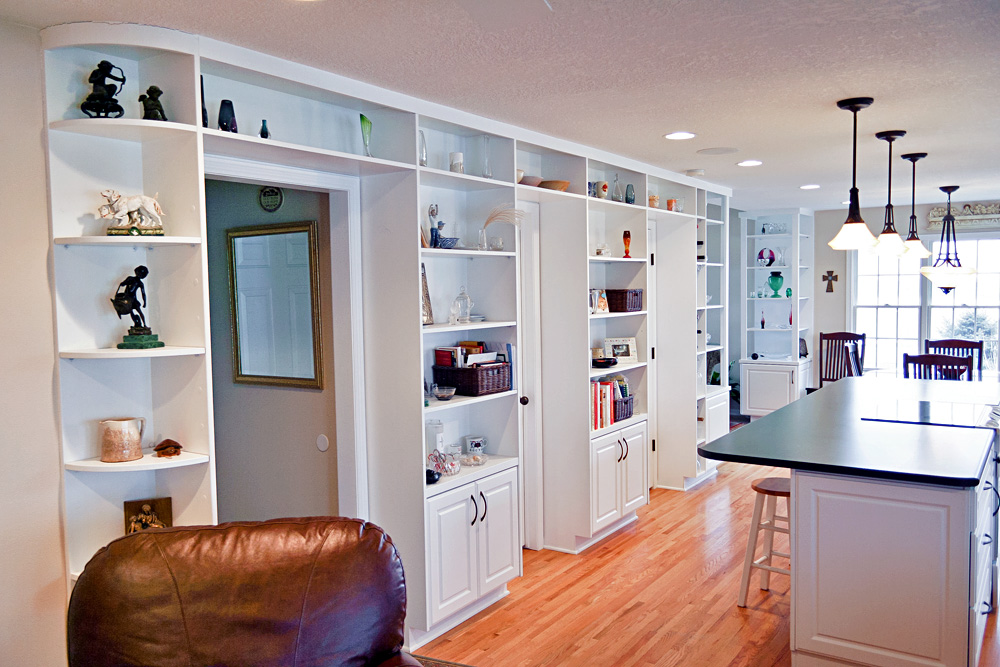 traditional custom kitchen open shelving