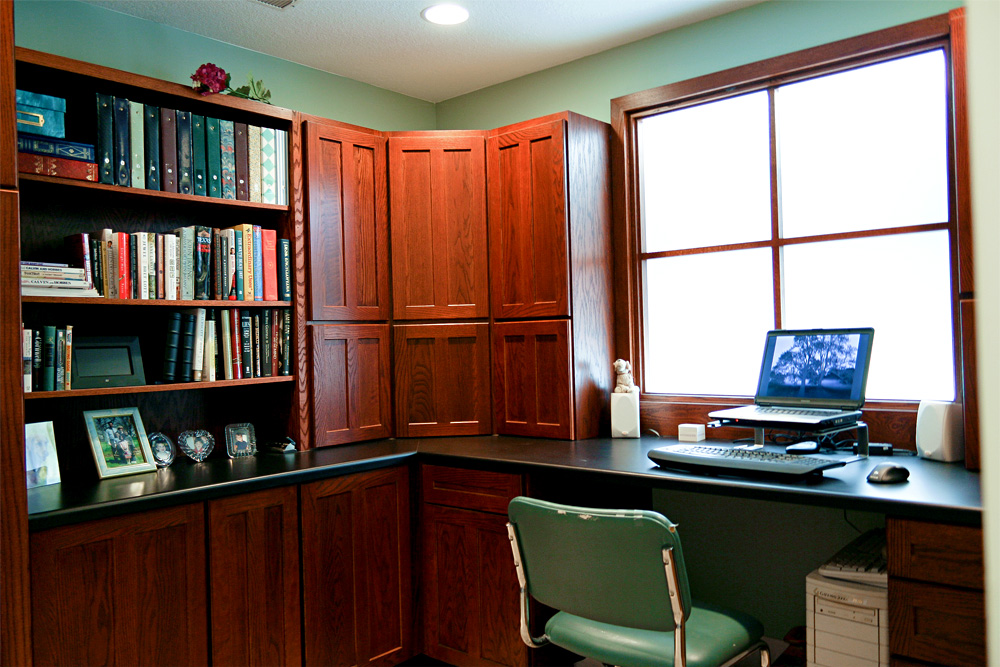 traditional basement office remodel