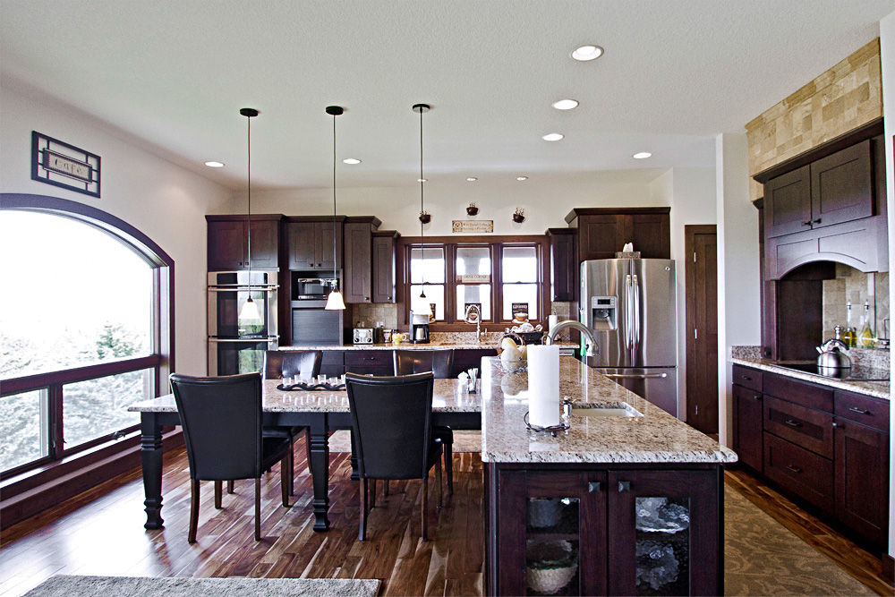traditional open concept kitchen overview