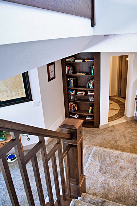 traditional basement view with railing