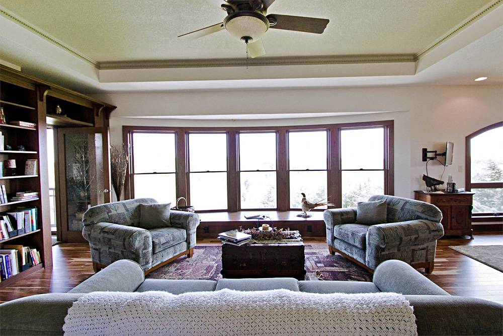 rustic bay window and living room area