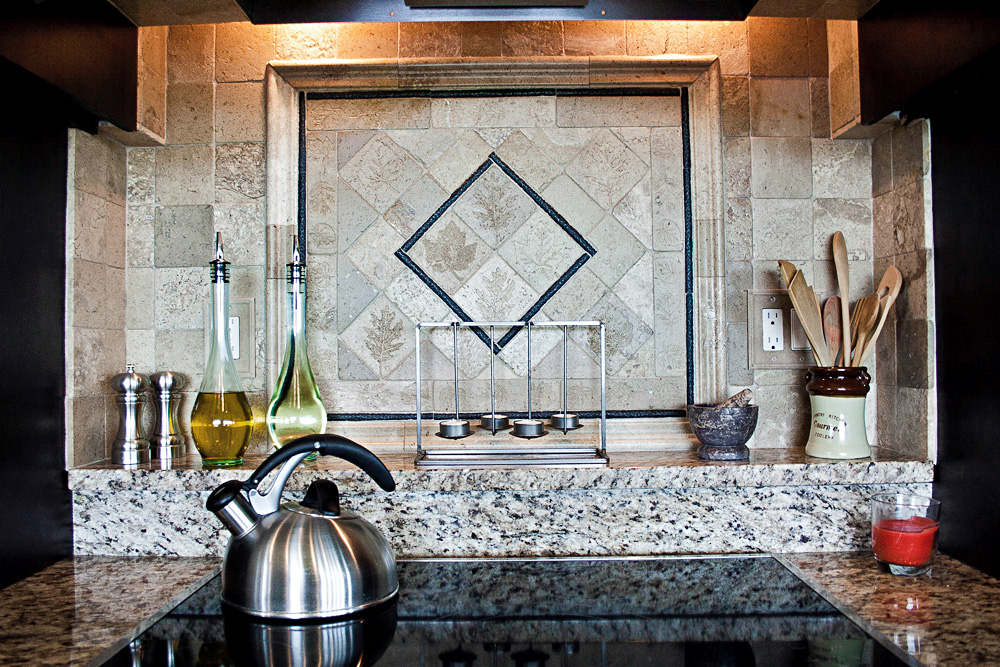 traditional range oven backsplash detail