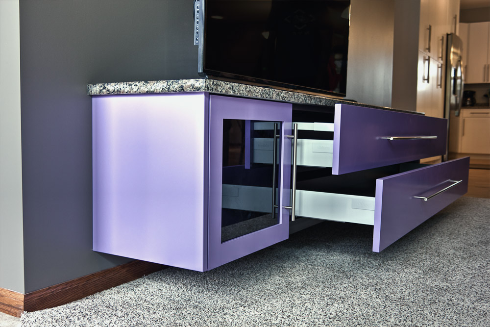 custom purple cabinet waukee